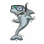 Cartoon Shark With Diving Mask And Snorkel Sketch Engraving Vector Illustration. T-shirt Apparel Pri poster