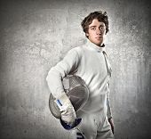 Portrait of a young fencer
