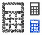 Calculator Mosaic Of Small Circles In Various Sizes And Shades, Based On Calculator Icon. Vector Cir poster
