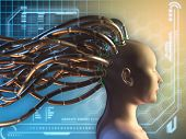 Female figure with some cables attached to her head, on an high technology background. Digital illus