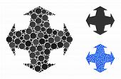 Directions Mosaic Of Round Dots In Different Sizes And Color Tints, Based On Directions Icon. Vector poster