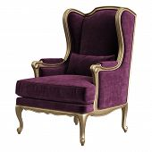 Classic Armchair In Burgundy Color Velvet With Carved Details Isolated On White Background.digital I poster
