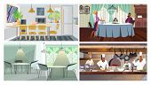 Eating Places Illustration Set. Cafe Tables, Restaurant Kitchen, Studio With Dining Table, Tradition poster