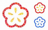 Flower Mosaic Of Round Dots In Variable Sizes And Color Hues, Based On Flower Icon. Vector Round Dot poster