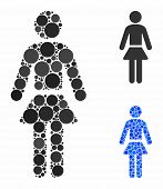 Lady Mosaic Of Filled Circles In Various Sizes And Color Tinges, Based On Lady Icon. Vector Filled C poster