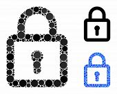 Lock Mosaic Of Small Circles In Variable Sizes And Color Tints, Based On Lock Icon. Vector Small Cir poster