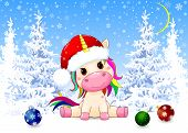 Little Unicorn Dressed In A Santa Hat. Winter Forest. Christmas Night. Snow, Snowflakes, Trees Cover poster
