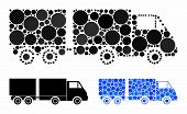Trailer Mosaic Of Filled Circles In Various Sizes And Color Hues, Based On Trailer Icon. Vector Fill poster