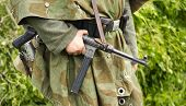 German Soldier Holding  Mp- 40