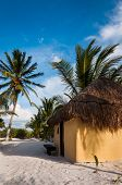 Cabanas Huts On White Sand Beach In Mexico Tulum Caribbean Yucatan