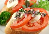 image of soma  - Fresh and light soma tomato and reconcilable bites topped red onion and basil oil - JPG