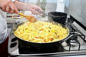 Food theme: Preparing Paella - Spanish cuisine