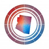 Arizona Badge. Bright Gradient Logo Of Us State In Low Poly Style. Multicolored Arizona Rounded Sign poster