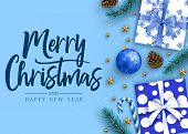 Merry Christmas And Happy New Year Lettering Calligraphic Holiday Postcard Greeting Text In Blue Bac poster