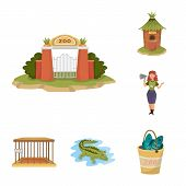 Isolated Object Of Zoo And Park Logo. Set Of Zoo And Animal Stock Vector Illustration. poster