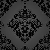 Classic Seamless Vector Pattern. Damask Orient Black Ornament. Classic Vintage Background. Orient Or poster