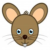 Vector cartoon character mouse smiling face web user avatar or icon