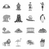 Vector Design Of Zoo And Park Symbol. Collection Of Zoo And Animal Vector Icon For Stock. poster