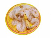 Top View Of Fresh Prawns On Plate Isolated On White Background, Fresh Shrimp Seafood Product, Space  poster