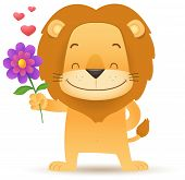 Lino The Lion Holding A Flower