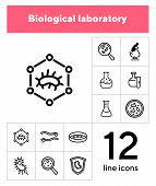 Biological Laboratory Line Icon Set. Set Of Line Icons On White Background. Science Concept. Laborat poster