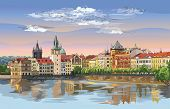 Colorful Vector Hand Drawing Illustration Of Prague Old City Panorama With River Vltava. Landmark Of poster