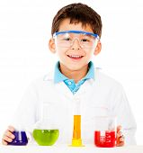 Scientist boy with test tubes - isolated over a white background