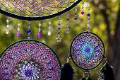 Handmade Dream Catcher With Feathers Threads And Beads Rope Hanging poster