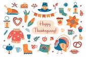 Thanksgiving Hand Drawn Flat Vector Clipart. Design Elements With Hat, Pumpkin, Turkey, Sweater, Pil poster