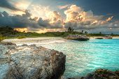 image of playa del carmen  - Caribbean beach in Mexico at sunset - JPG