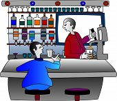 Bartender serving drinks at a bar