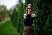 Smoke In Teenager Life. Young Pretty White Caucasian Girl With Problem Skin Smoking An Cigarette On poster