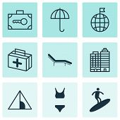 Tourism Icons Set With Tent, Parasol, Medicine And Other Travel Direction Elements. Isolated Illustr poster