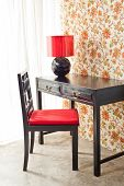 Luxury Work Desk With Floral Wallpaper