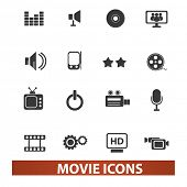 movie icons set, vector