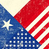 stock photo of texas star  - Texas and USA grunge Flag - JPG