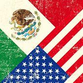 EUA e México grunge bandeira.