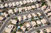 pic of southwest  - Sunny Southwest neighborhood with swimming pools from above - JPG
