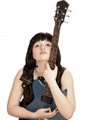 Young Woman With Electric Guitar