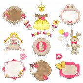 stock photo of baby doll  - Collection of baby girl symbols - JPG