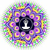 picture of padmasana  - yoga lotus posture icon illustration design style - JPG