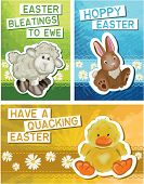 Set of 3 Cute Easter Greeting Cards. Simply print off and cut out to make your own unique fun cards this Easter.
