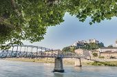 Mozart Bridge (mozartsteg) And Salzach River At Salzburg, Austri
