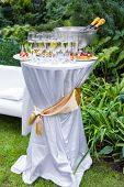 Table With Champagne And Appetizers