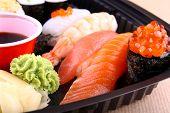 The Focus Of Salmon Caviar Ikura Sushi