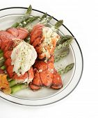 Grilled Lobster Tail Served With Asparagus