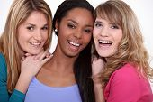 stock photo of friendship belt  - Three happy female friends - JPG