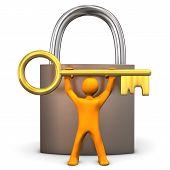 Manikin Padlock Golden Key