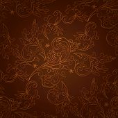 Vintage Floral Seamless Pattern On Brown