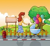 Illustration of a mother strolling with a stroller